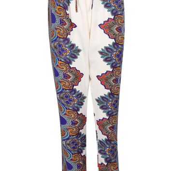 Cadence Paisley Border Print Relaxed Fit Joggers