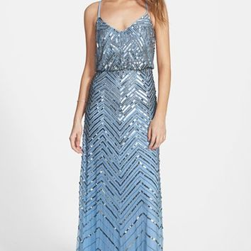 Women's Adrianna Papell Cross Back Sequin Blouson Gown