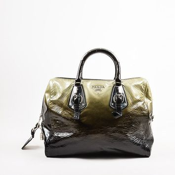 "Prada Olive Green and Black Patent Leather Ombre ""Sfumato"" Satchel Bag"