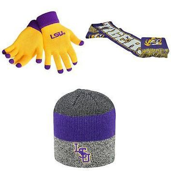 Licensed NCAA LSU Tigers Spirit Scarf Sunset Beanie Hat And Glove Solid Knit 3Pk 25222 KO_19_1
