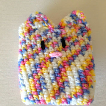 Pastel Kawaii Crochet Kitty Cat Coffee Cup, Tea Cup, or Water Bottle Cozy with Tail