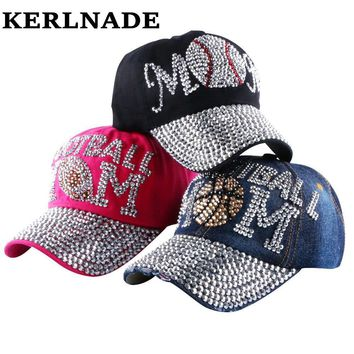 Popular Young Female Denim Baseball Caps Heart Shaped Rhinestone Jeans Snapback Hats