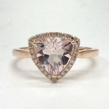 Morganite Engagement Ring 14K Rose Gold!Diamond Wedding Bridal Ring,Halo,8mm Trillion Cut Pink Morganite,Can make matching band