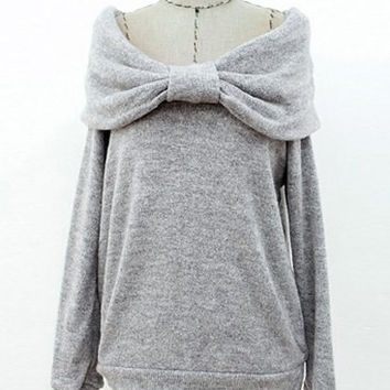 Solid Color Slash Neck Bowknot Design Sweater