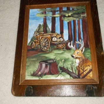 "Framed 14x11 Painting ""A Buck in the Bush"" - upcycled sew machine frame"