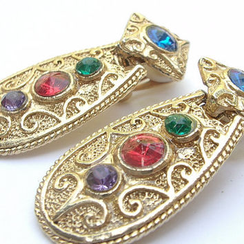 Vintage 1980's jewelry, rhinestone earrings, shiny gold enamel clip on earrings, dangle earrings, Pittsburgh