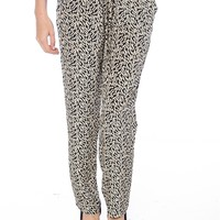 Pixel Pop Printed Drawstring Pants - Black from Mind Code at Lucky 21