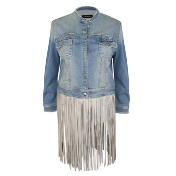 Fringe-Trimmed Denim Jacket