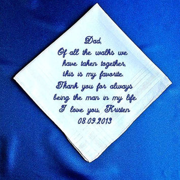 Father of the  Bride  Heirloom Embroidered, Personalized Hanky, Gift, Handkerchief  Gift Box Included