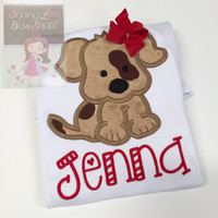 Puppy shirt for girls - Puppy dog shirt or bodysuit - sweet puppy dog shirt in tan and red - color changes welcomed