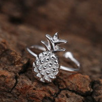 Cute Silver Pineapple Pineapple Ring