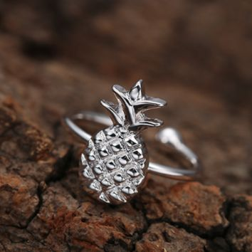 Super Cute Silver Pineapple Pineapple Ring