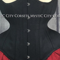 Black cotton underbust waist training tightlacing steel boned corset MCC-54 MystiC City Corsets