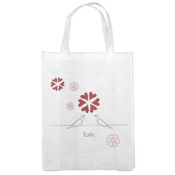 Cute White Doves in Love Red Heart Flower Grocery Bags