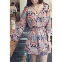 Printed Long Sleeve Pleated Chiffon Dress
