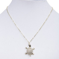 Rhinestone Turtle Necklace | Wet Seal