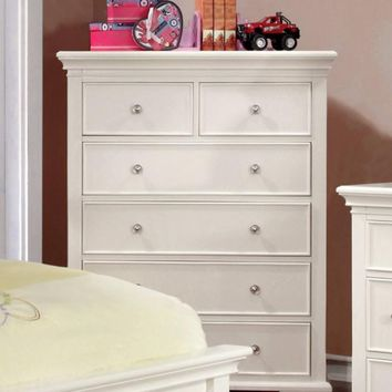 Six Drawer Transitional Wooden Chest, White