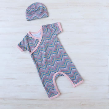 Pink Chevron Kimono Romper - Baby Girl  Going Home Outfit - Newborn Girl Romper - Layette - Newborn - 0-3 months - 3-6 months -READY TO SHIP