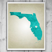 FLORIDA MAP Florida State Florida Art Florida State Map Florida Map With Heart Home is Where the Heart Is Customizable Gift Map Art Florida