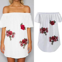 New summer sexy Women embroidery off shoulder dress-0523