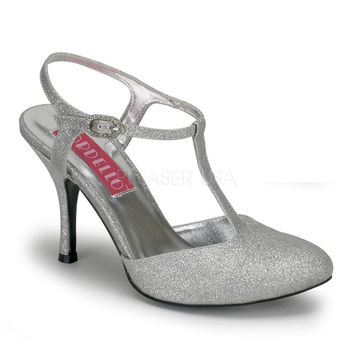 Flapper Shoes-Bordello Violette Silver Glitter T Strap Heels