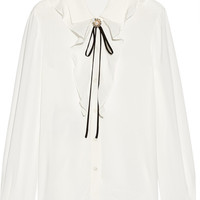 Miu Miu - Embellished ruffled silk-trimmed crepe blouse