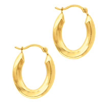 10K Yellow Gold Shiny Oval Shape Hoop Earrings