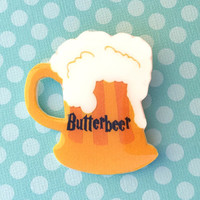 "Handmade ""Butterbeer"" Harry Potter Inspired Butter Beer Mug Brooch"