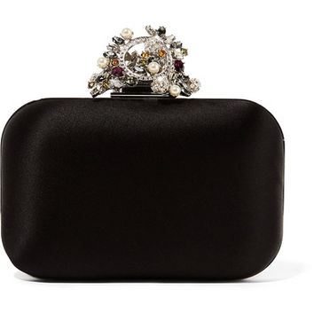 Jimmy Choo - Cloud interchangeable Swarovski pearl and crystal-embellished satin clutch