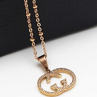 GUCCI Double G Hollow Diamond Rose Gold Necklace Clavicle Chain rose gold
