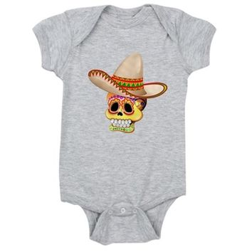 Mexico Sugar Skull with Sombrero Baby Bodysuit