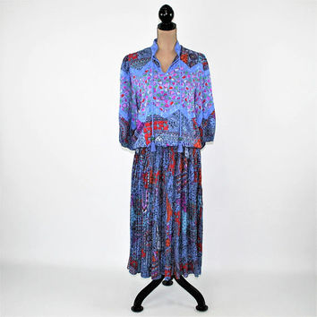 Vintage 80s Silk Dress Bohemian Print Peasant Dress Boho Clothing Designer Diane Freis 1980s Vintage Clothing Womens Clothing