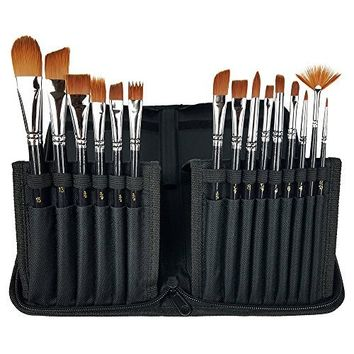 Wisehands Paint Brushes Set for Watercolors with Long Handle Case Holder for Acrylic, Oil and Face Painting - 15 Pieces