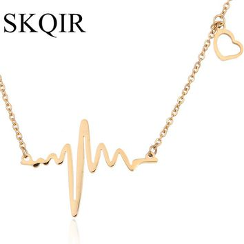 SKQIR ECG Medical Stethoscope Heartbeat Necklace Love Heart Choker Necklaces Women Gold Color Chain Stainless Steel Jewellry