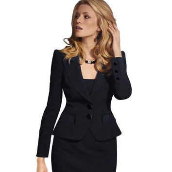 Vfemage Womens Autumn Winter Long Sleeve Turn Down Collar Button Wear to Work  Blazer 1359