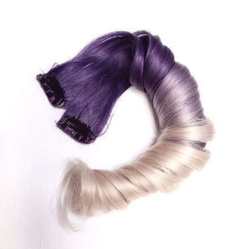 Purple White Blonde Ombre Dip Dye Clip in Human Hair Extensions Kawaii emo scene