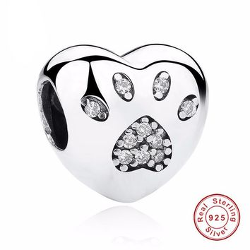 100% 925 Sterling Silver Bead Charm Love Heart Dog Paw Print Fits Pandora Bracelet or