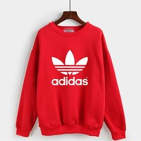 """Adidas"" Women Casual Simple Letter Logo Print Round Neck Long Sleeve Sweater Tops"