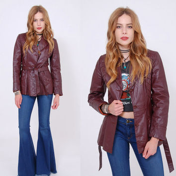 Vintage 70s LEATHER Jacket Belted Maroon Blazer BOHO Leather Jacket Hippie Leather Jacket Light Jacket