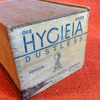 Old Wood Box Crayons or Chalk - Hygieia Dustless Old Faithfuk Logo - American Crayon - Box Joint with Lid