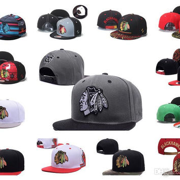 2016 Hotsale Men's Chicago Blackhawks Snapback Hats Team Logo Embroidery Sports Adjustable Hockey Caps Vintage Leather Visor Strap back Hat