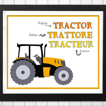 Tractor Nursery Print languages educational art INSTANT DOWNLOAD in English Italian and French with a tractor illustration