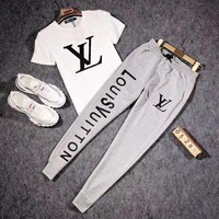LV Louis Vuitton Fashion Men Casual Print Short Sleeve Top Tee Pants Two-Piece Set Sportswear Grey