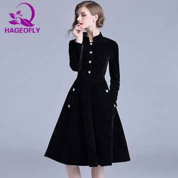 HAGEOFLY Autumn New Vintage Velvet Dress Long Sleeve Ball Gown Dresses Elegant Celebrity Evening Party Vestidos Women's Clothing