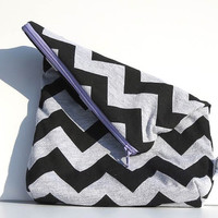Chevron Small Purse. Makeup Bag. Fold Over Clutch. Casual Style. JERSEY Fabric Gray and Black Chevron Choose zipper color add style.