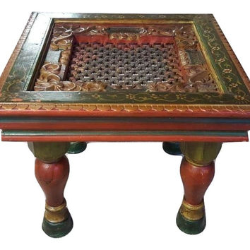 Handmade  Hand Painted Wooden Carved traditional Coffee Table