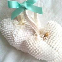 Valentine's Day Gift Inspiration Pair of Vintage Chenille Fabric Handmade Stuffed Hearts Shabby Chic Bridal Wishing Well
