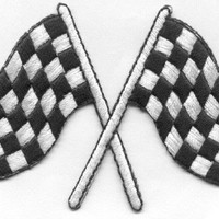 RACE FLAGS Racing Car LG 4 X 2 3/4 inches Patch Iron On Patch Race Car Flag Checkered Flag auto racing motorsports Cedar Creek Patch Shop