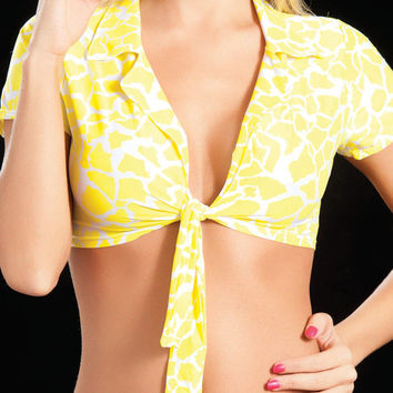 Tie Front Yellow Animal Print Marilyn Halter Top