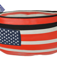 USA Flag Leather Waist Fanny Pack Belt Bag Pouch Travel Hip Purse Men Women 962 AL (C)